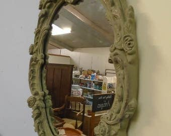 Antique baroque style gesso painted ornate shape vintage framed mirror