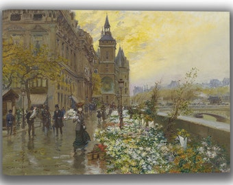Georges Stein: The Flower Market (at the Quai de l'Horloge in Paris). Fine Art Canvas. (04013)