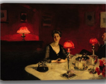 John Singer Sargent: A Dinner Table at Night. Fine Art Canvas. (04046)