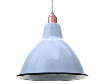 Large White Enamel Shade with a Rose Copper Pendant Set and White cord
