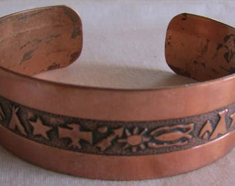 Copper Cuff Bracelet With Southwest Designs