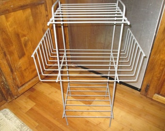 Mid Century plant stand rack magazine rack record holder gray metal rack