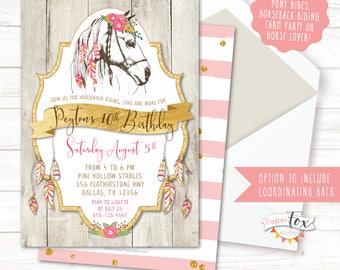 Horse Birthday Invitation, Cowgirl Birthday Invitation, Boho Birthday Invitation, Pony Birthday, Horseback Riding, Horse Birthday Party