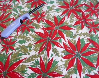 Indian Head Mills Christmas Tablecloth Vintage Red Poinsettia Holly Berry Cotton 53 x 67