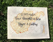 West Virginia & Wisconsin | personalized calligraphy map | original vintage map | calligraphy map | custom calligraphy map