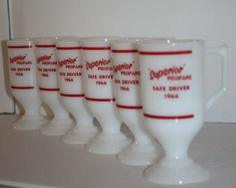 Superior Propane Set of 6 Coffee Mugs 1966 Safe Driver Milk Glass Pedestal Cups New Old Stock Original Box
