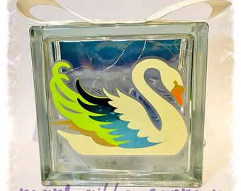 Glass Block Light - Swan