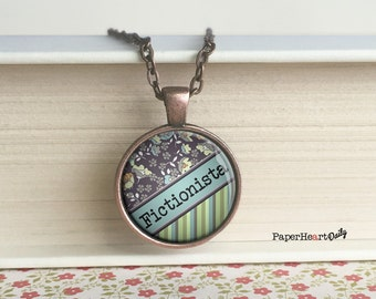 Fictionista - Quote Necklace - Book Lover Quote - Reading Necklace - Jewelry for Readers - (B4490)