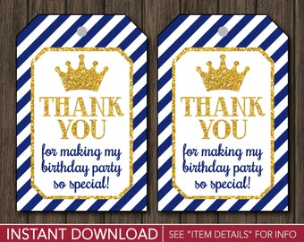 Prince Birthday Favor Tags - Prince Thank You Party Favor Tags - Printable Digital File - INSTANT DOWNLOAD