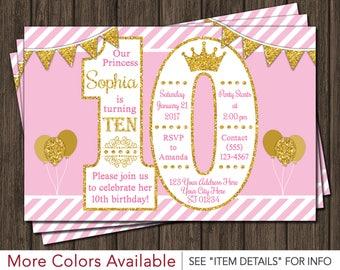 Princess Birthday Invitation • 10th Birthday Invitations • Age 10 Only