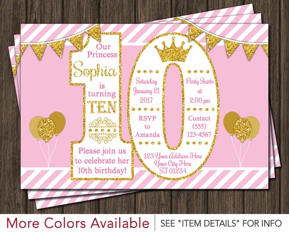 Princess Birthday Invitation 10th Birthday Invitations Age – 10th Birthday Invitations