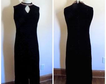 60s Dress, Black Velvet Dress, 1960s, Rhinestones, Womens Vintage Clothing, Size 12, Body Contour, Formal Dress, Special Occassion