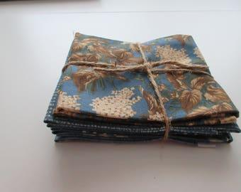 Blues Fabric Bundle - 5  Fat Quarter Cuts - Brannock & Patek for Moda  - 100% Cotton