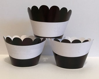 Black and White Stripes Cupcake Wrappers, Party decorations, cupcake holders, party supplies, cupcake wraps, cupcake sleeves, paper goods