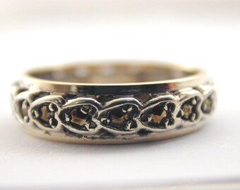 Marcasite hearts Art Deco 9ct & silver 1920's full eternity ring size L 1/2 2.6g