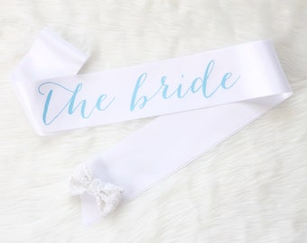 White and Light Blue Bachelorette Sash -Bachelorette Party - Bride Gift - Bride Sash - Bridal Shower
