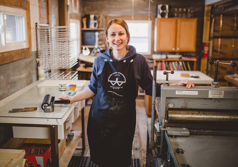 Printmaker Kari McDonald, owner of print shop, Lemuette
