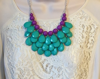 Teal and Purple Bubble Bib Beaded Chandelier Layered Statement Necklace with Matching Earrings