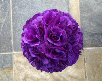 Purple Rose Flower Ball Pomander Wedding decoration Ball Silk Rose Kissing Ball Faux Flowers/Mutiple sizes/Aisle decor/ Centerpiece