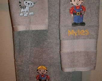 Construction Builder Guy Personalized  3 piece Towel Set Bathtowel, Handtowel, & Washcloth  Any Color
