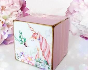 Shabby Chic Unicorn Wooden Block...