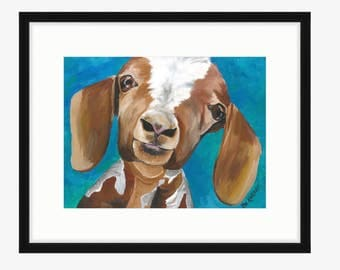 Goat art print from original canvas goat painting, goat prints, goat art prints, cute goat art, goat paintings and prints