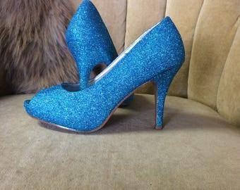 Custom made to order aqua glitter high heels. Woman's US sizes 5-12