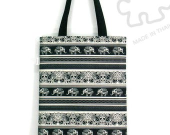 10% Off [Orig. 10.99] Tote bag, Canvas tote bag, Book bag, Shopping tote, Summer bag, Elephant tote bag