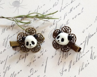 Panda Bear Alligator Hair Clips