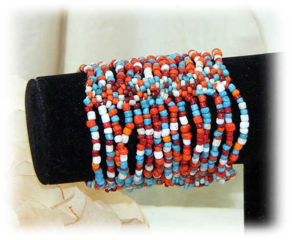 PATRIOTIC BEADED BRACELET . . stretch