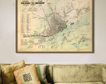 "Warsaw map 1856, Rare vintage map of Warsaw, 4 sizes up to 48x36"" (120x90cm) Large wall map of Warszawa, Poland - Limited Edition of 100"