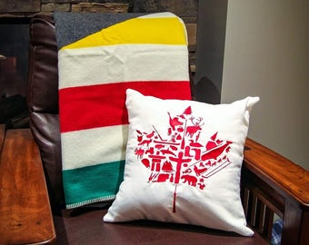 Embroidered Canadian Maple Leaf Pillow Cover  Throw Pillow, Decorative Pillow,