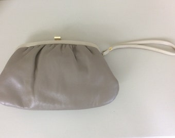 Vintage Nil Simile Clutch Purse Bag With Hand Strap Taupe Leather Wedding Occasion c1970s