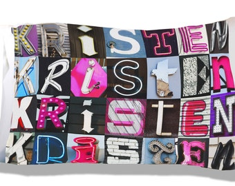 Personalized Pillow Case featuring KRISTEN in sign letters; Custom pillowcases; Teen bedroom decor; Cool pillowcase; Bedding