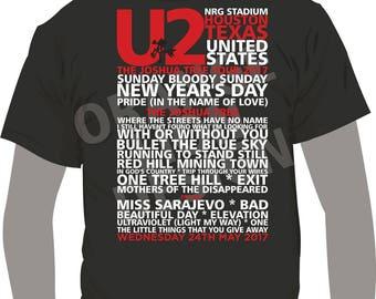 T-Shirt - U2 - Joshua Tree Tour 2017 - NRG Stadium, Houston - 24th May 2017 - All Tour Dates Available - Set List - T-Shirt
