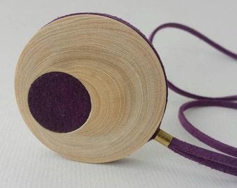 Wooden pendant  / Tangerine wood necklace / Geometric jewelry / Unique jewelry /Adjustable necklace / Minimalist jewelry / Wooden pendant