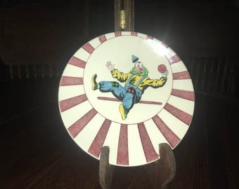 Vintage Very Hard To Find Mason's Ironstone Hand Painted Circusland Red Clown Plate