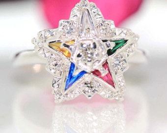 Estate 14k White gold Natural VS Diamond & Multicolor Sapphire Star ring .56ctw