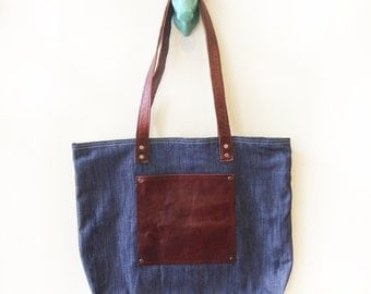 Tote - Denim and buffalo leather bag