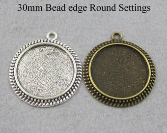 25 - 30mm Round Pendant Setting, Bezel Pendant Blanks, 30mm Cameo Setting  - Silver, Bronze, Copper, Antique Silver