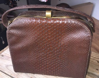 1940s brown vinyl box bag