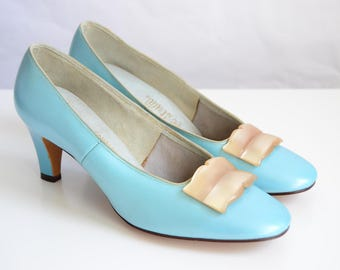 LIFE STRIDE Tiffany Blue Vintage 50s 60s Mod Kitten Heels Pumps Shoe Size 7.5 AA