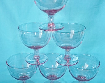 1940's Pink Champagne Glasses, Large Cocktail Glasses, Wine Champagne Deep Coupe Glasses Pink - Set of 6