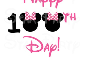 Instant download, Minnie Mouse, 100 days, school, Digital Image for T shirt, Printable Iron On Transfer, 1st Birthday, Birthday Shirt image