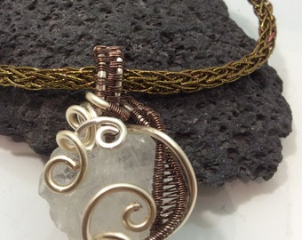 wire wrapped quartz nugget pendant
