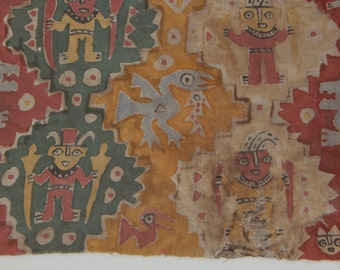 Pre-Columbian Peruvian Chancay Textile Fragment with Warriors