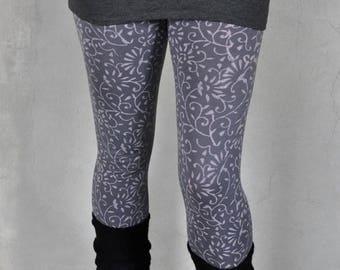Leggings with pattern in grey - blockprint