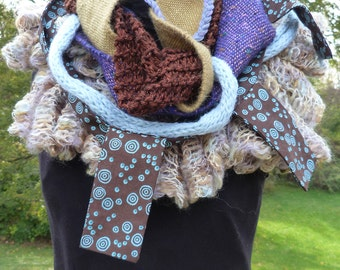 Boho Mixed Media Cowl - Browns and Blues