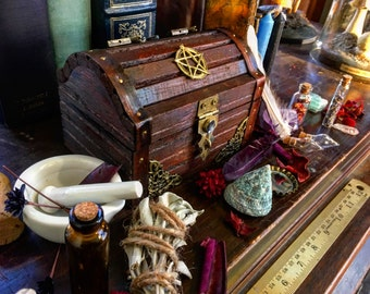 Wiccan Pagan Altar Box/Chest- with mortar and pestle