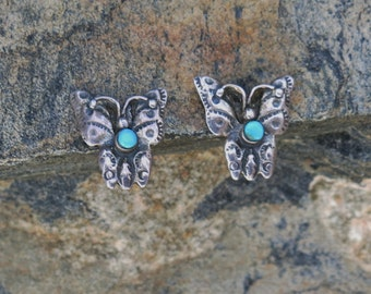 "Tiny Butterfly Earrings, Handmade, Vintage Navajo, Turquoise, Stamped ""Sterling"""